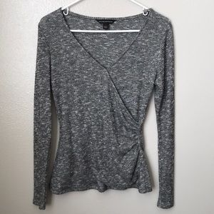 Rock & Republic Grey Long Sleeve Ruched Top